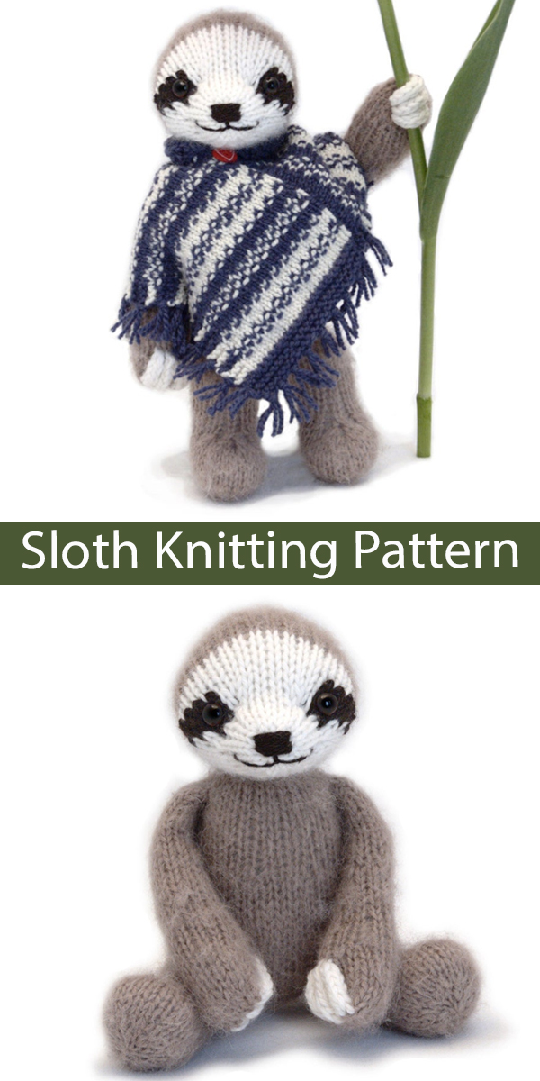 Sloth Knitting Pattern Three-Toed Sloth Toy
