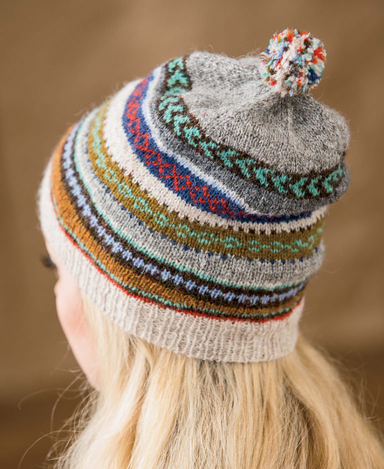 Knitting Pattern for Tilting Fair Isle Hat and Mitts
