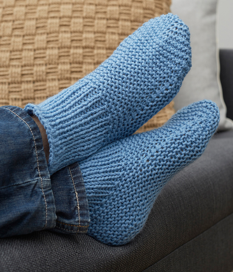 Free Knitting Pattern for Easy Time-Off Slippers