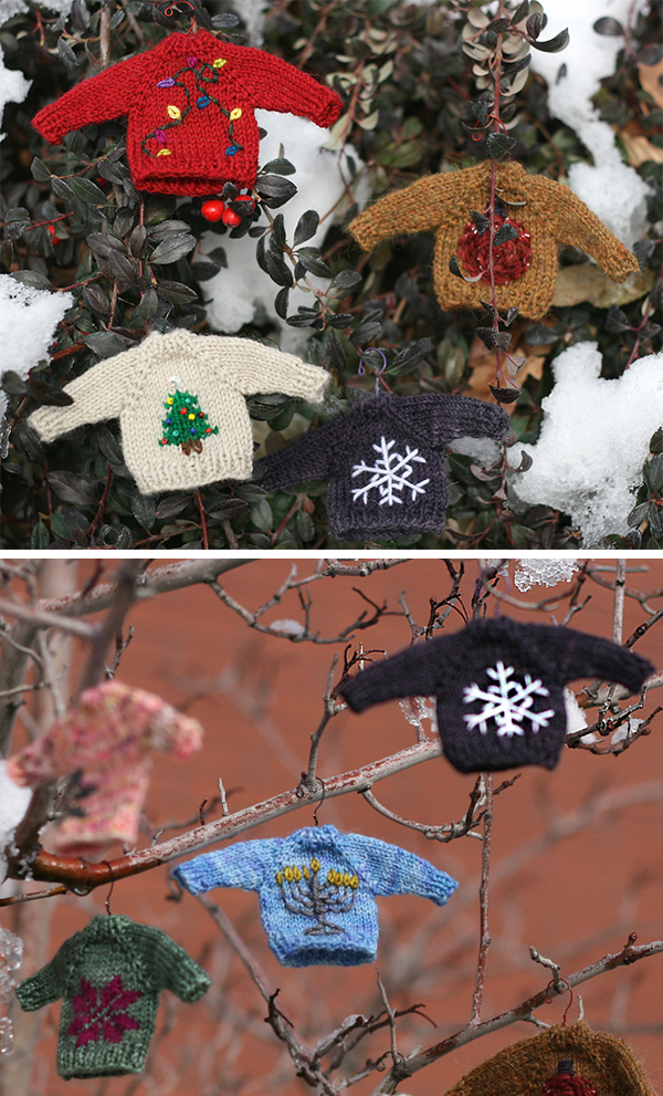 Free Knitting Pattern for Tiny Sweaters Ornaments
