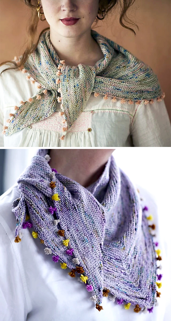 Free Knitting Pattern for Easy One Skein Tiny Tassels Scarf