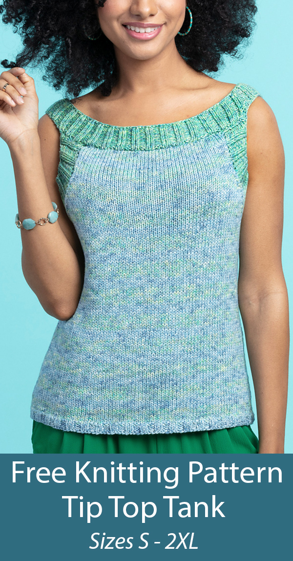 Free Knitting Pattern for Tip Top Tank Sizes S - 2XL