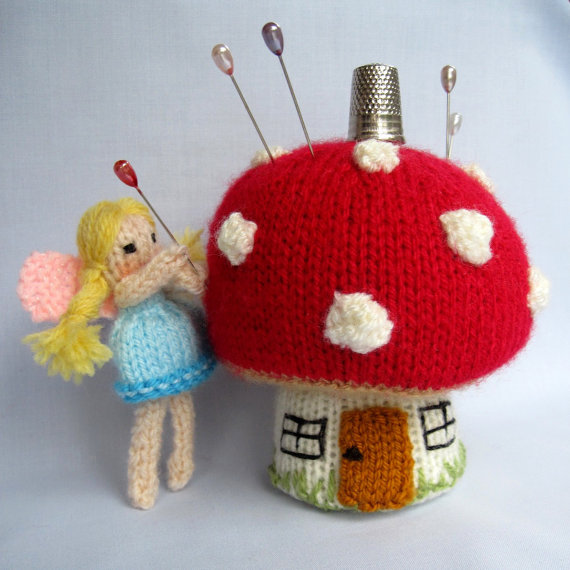 Knitting pattern for Toadstool Pin Cushion with Fairy