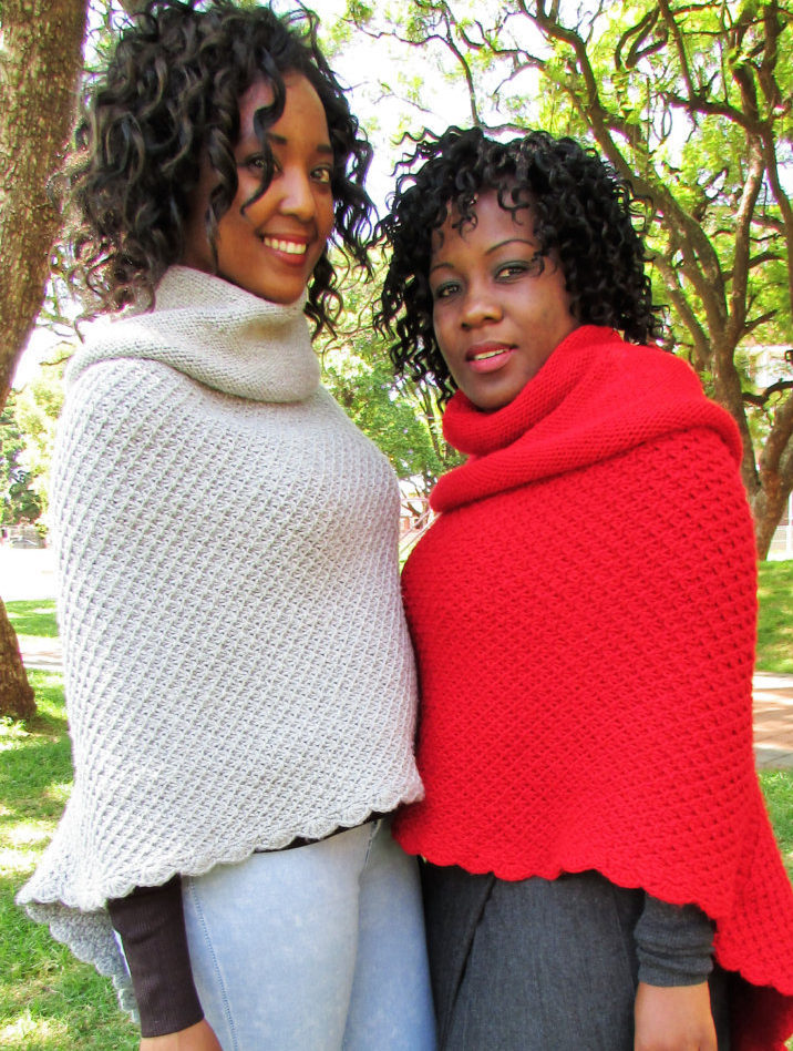 Knitting Pattern for Toasty Asymmetrical Knitted Poncho With Cowl Collar