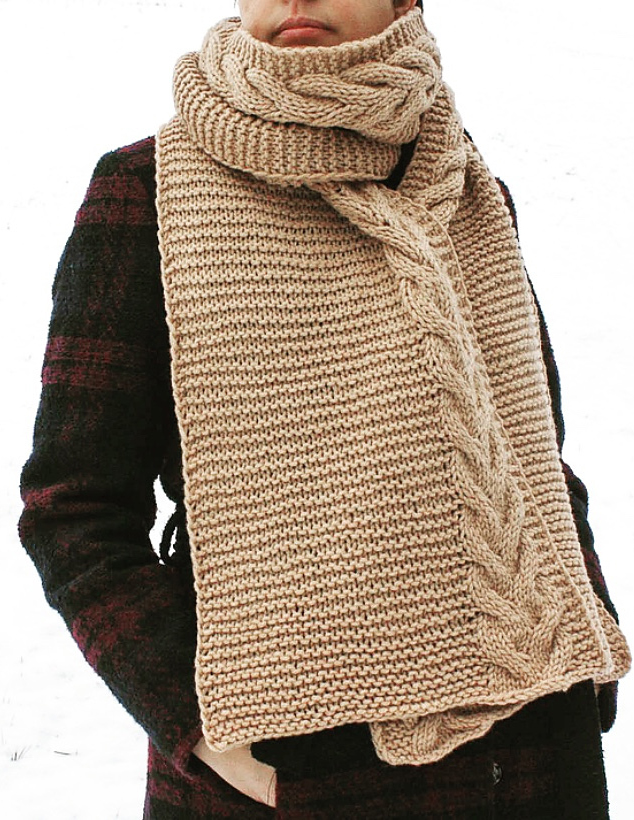 Free Knitting Pattern for Easy Toffee Scarf