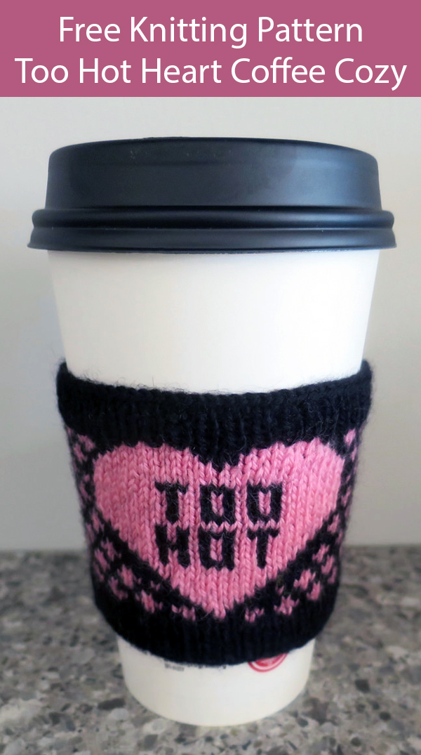 Free Knitting Pattern for Too Hot Heart Coffee Sleeve