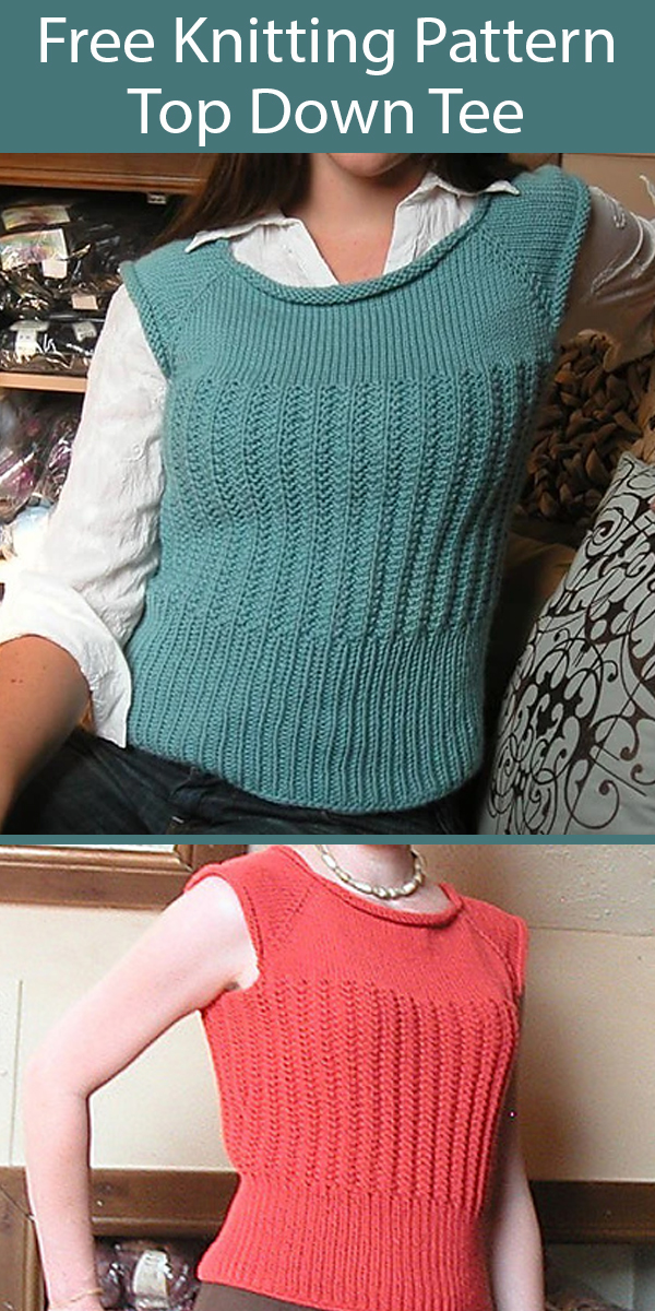 Free Knitting Pattern for Top Down Tee