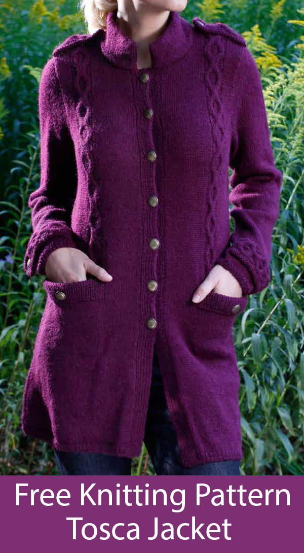 Free Knitting Pattern for Tosca Jacket with Pockets
