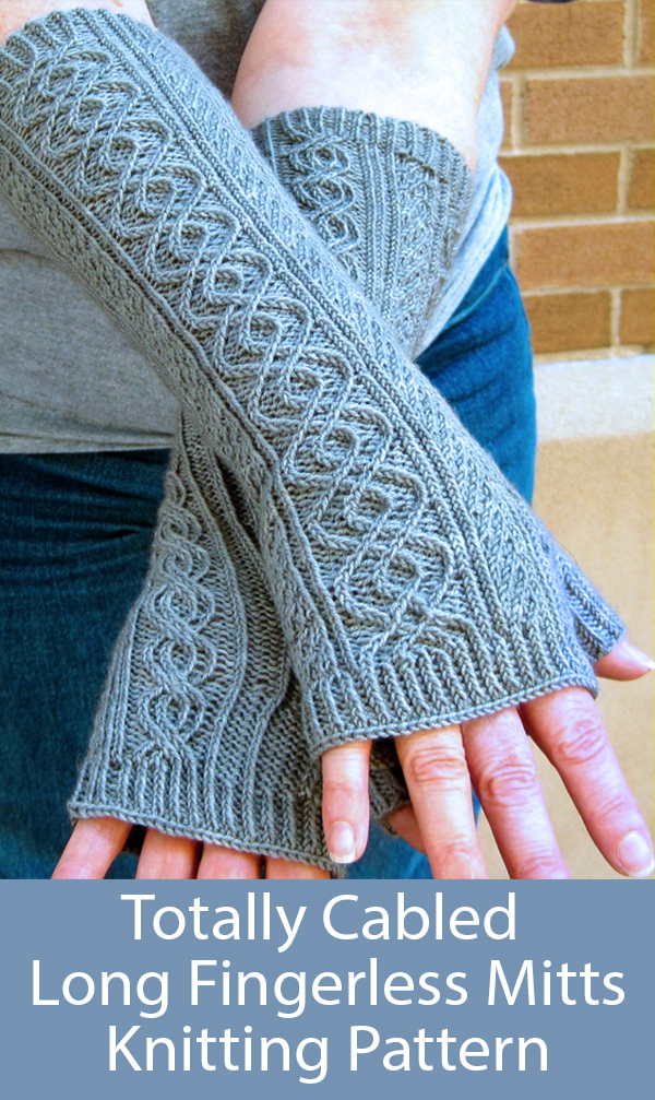 Knitting Pattern for Totally Cabled Long Fingerless Mitts