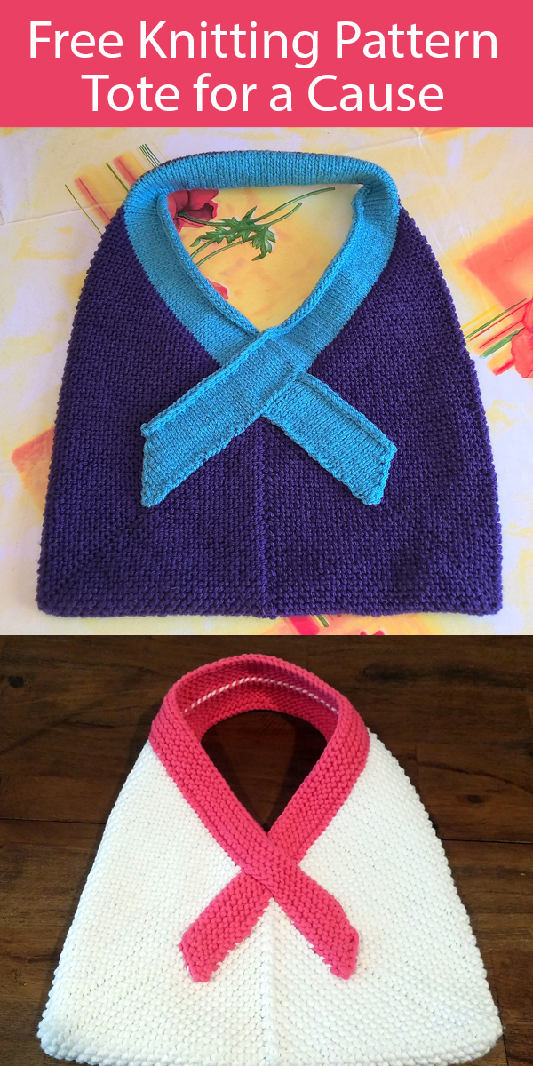 Free Knitting Pattern Tote for a Cause Awareness Ribbon