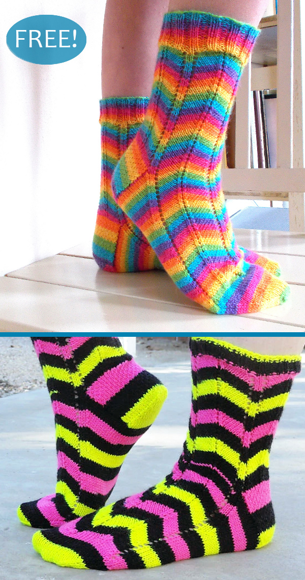 Free Knitting Pattern for Easy 2 Row Repeat Traffic Island Socks