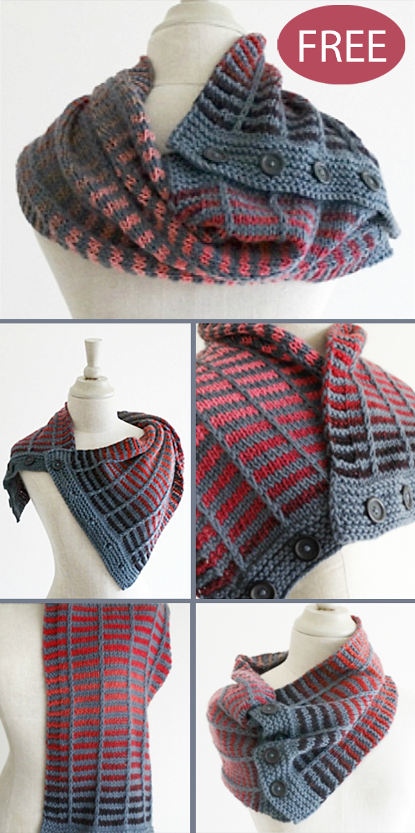 Free Knitting Pattern for 4 Row Repeat Train Track Neckwarmer