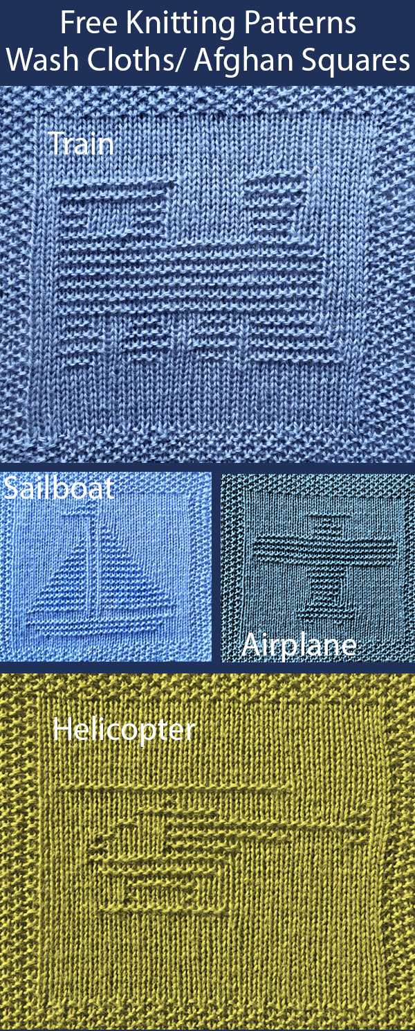 Free Knitting Pattern for Train, Plane, Boat, and Helicopter Wash Cloths or Afghan Squares