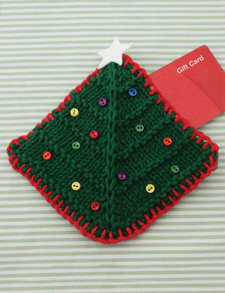 Free knitting pattern for Christmas Tree Gift Card Cozy and more gift wrap knitting patterns