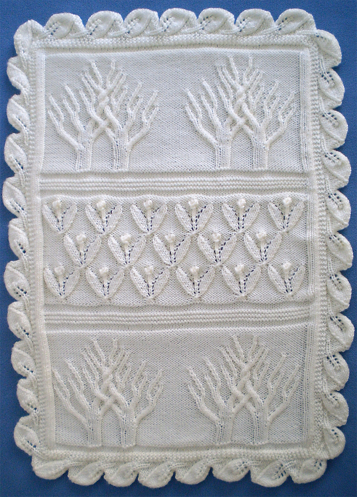 Free Knitting Pattern for Tree of Life Baby Blanket