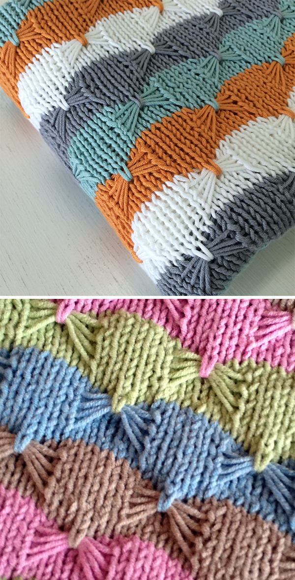 Free Knitting Pattern for Easy Treetops Baby Blanket