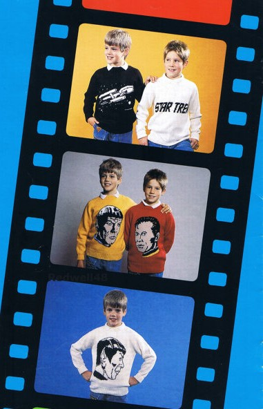 Knitting patterns for Star Trek pullover sweaters with intarsia images
