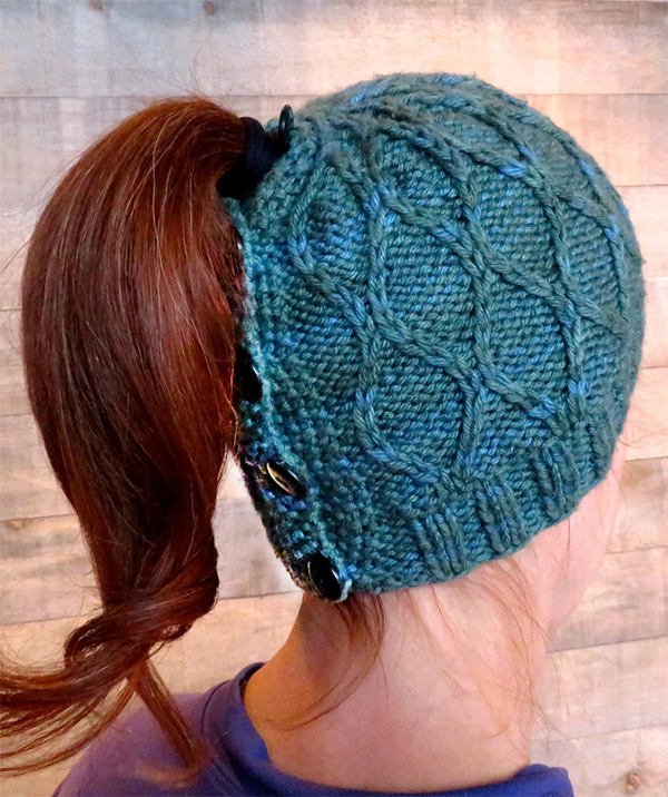 Knitting Pattern for Trellis Messy Bun Hat
