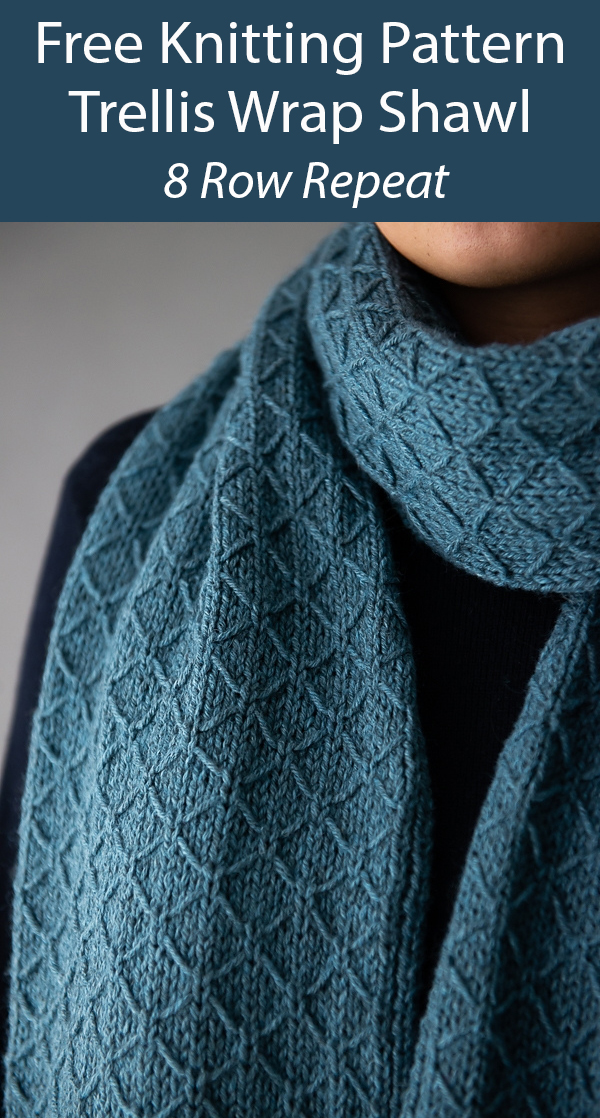 Free Knitting Pattern for Easy 8 Row Repeat Trellis Shawl or Scarf