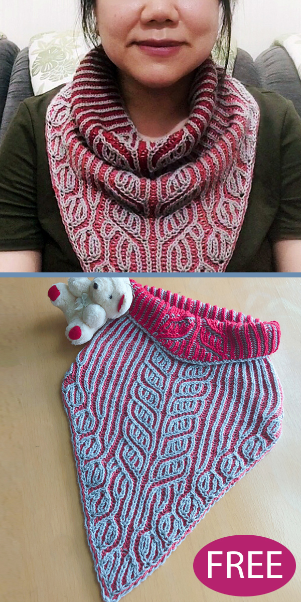 Free Knitting Pattern for Triangle Brioche Cowl