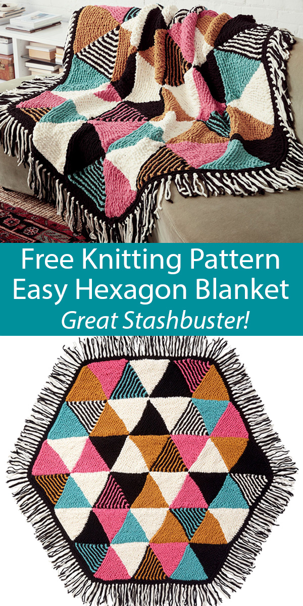 Free Knitting Pattern for Easy Triangles Hexagon Blanket Stashbuster Throw