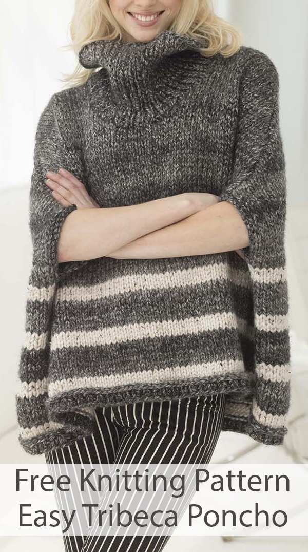 Free Knitting Pattern for Easy Tribeca Poncho