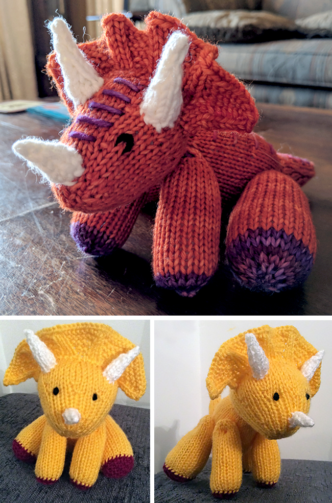 Free Knitting Pattern for Triceratops Amigurumi