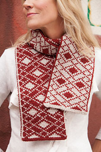 Knitting pattern for Trimble Court Scarf with double knit diamond argyle pattern