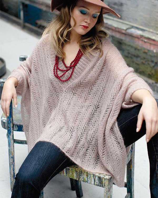 Free Knitting Pattern for Trinity Poncho With Sleeves