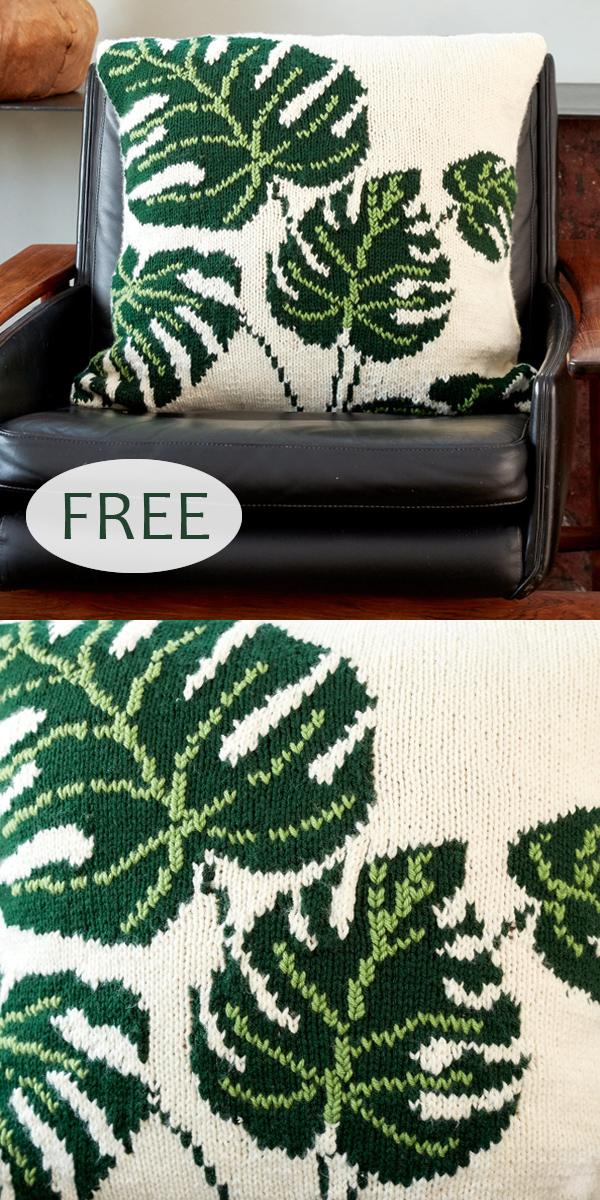 Free Knitting Pattern for Tropical Leaf Pillow