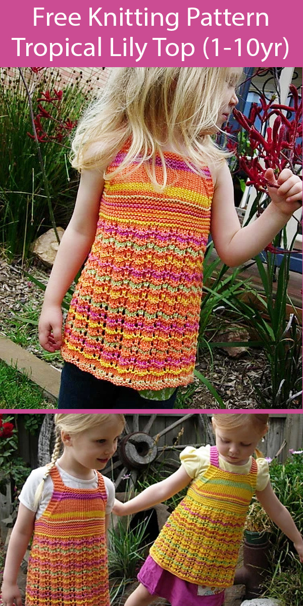 Free Knitting Pattern for Baby and Child Top Tropical Lily