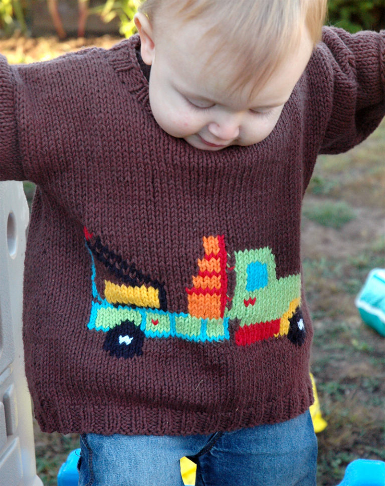 Free Knitting Pattern for Truck Sweater for Babies and Children