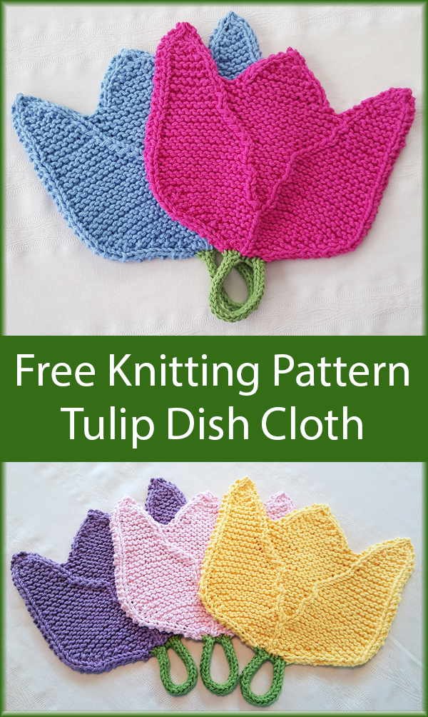Free Knitting Pattern for Tulip Dishcloth