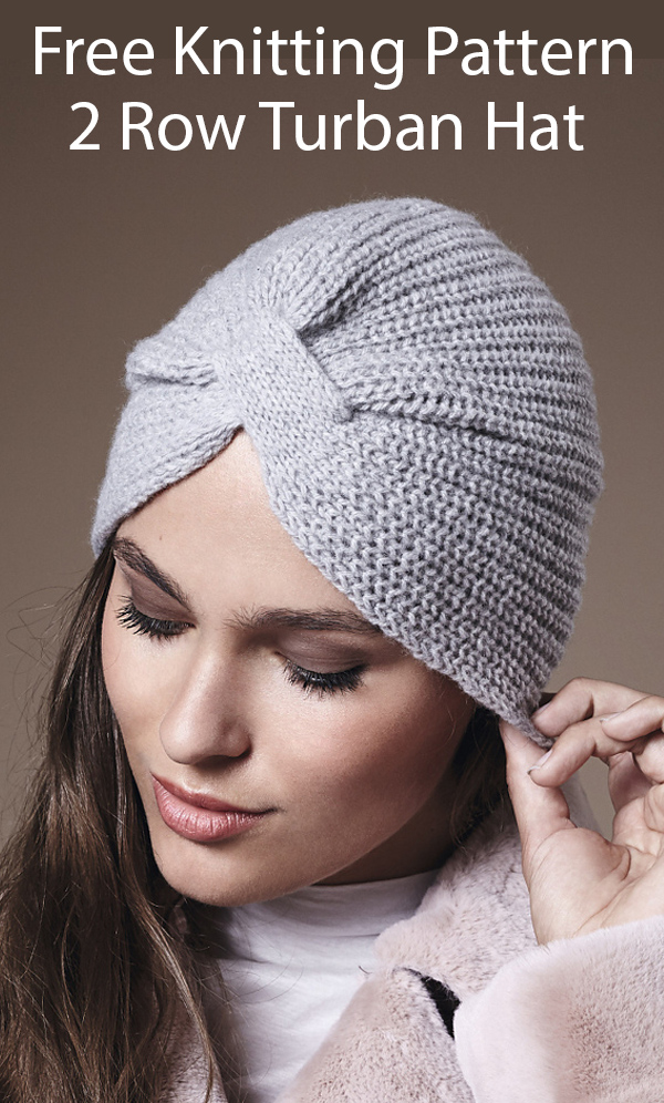 Free Knitting Pattern for 2 Row Repeat Glamorous Turban Hat