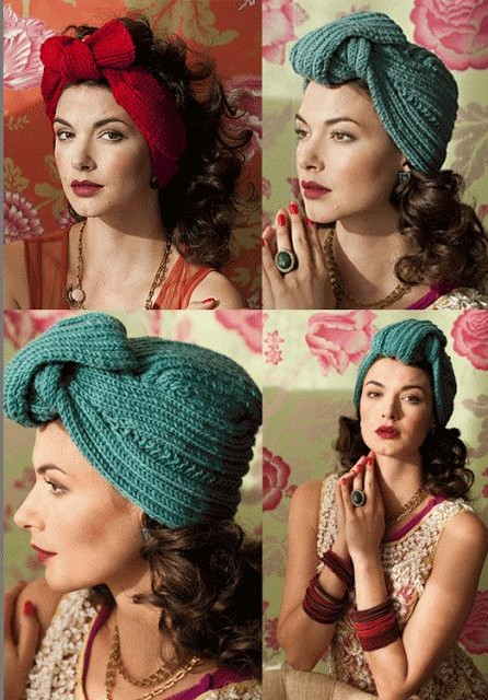 Knitting patterns for Turban Wrap and headband