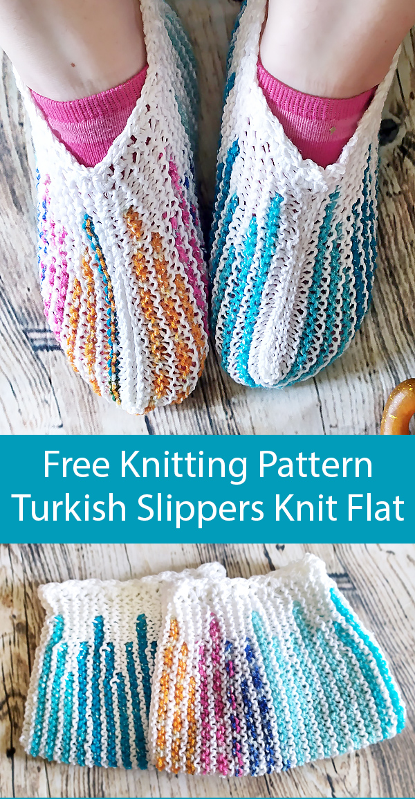 Free Knitting Pattern for Turkish Slippers Knit Flat