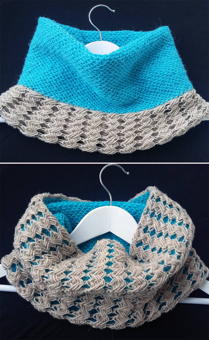 Free Knitting Pattern for Reversible Cross Stitch Cowl