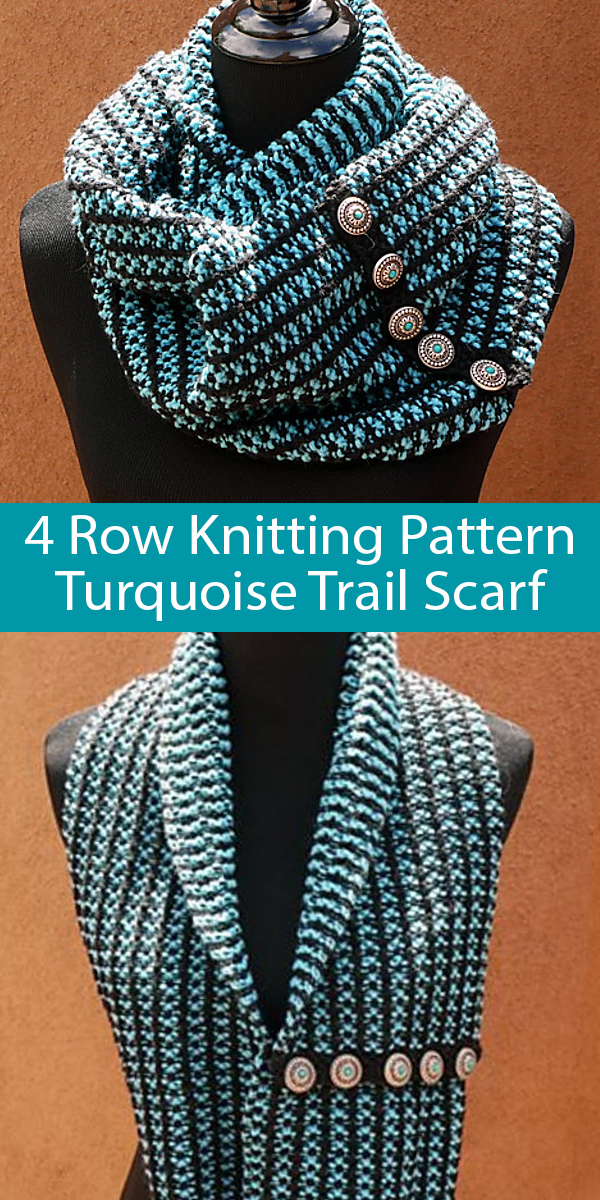 Knitting Pattern for 4 Row Repeat Turquoise Trail Scarf