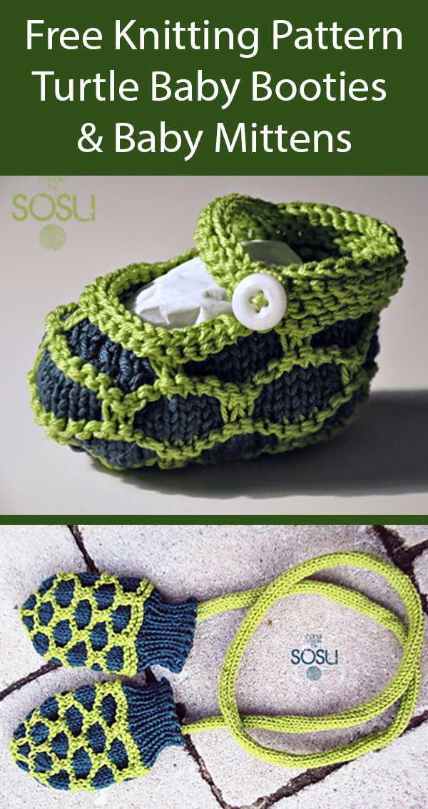 Free Knitting Pattern for Turtle Booties and Baby Mittens
