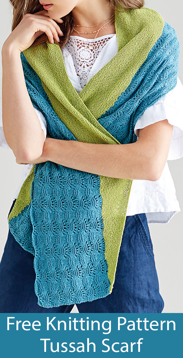 Free Knitting Pattern for Tussah Scarf or Shawlette