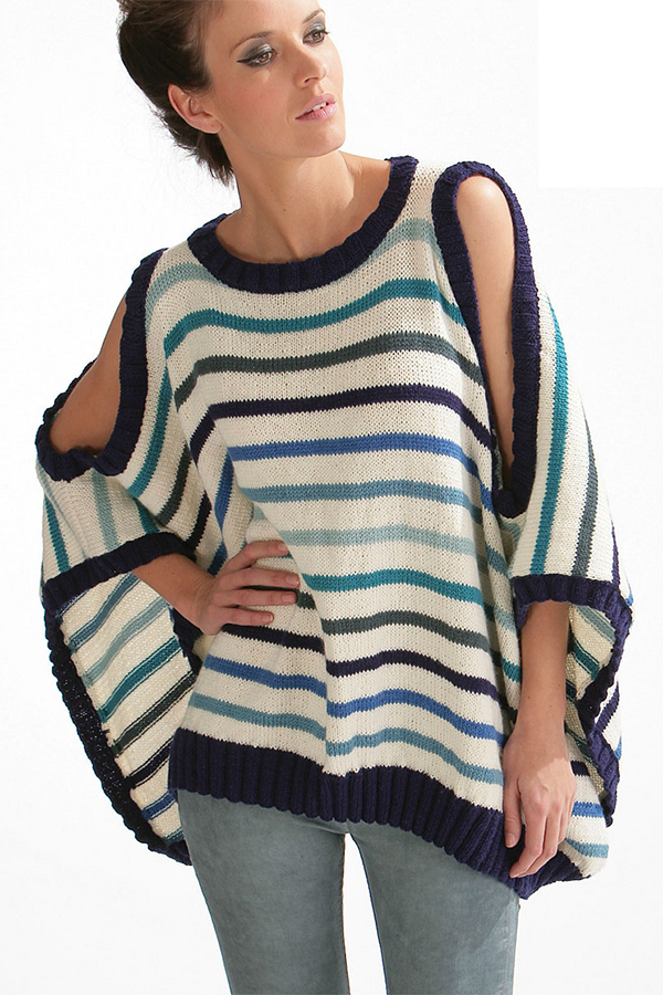 fc33c36098fd4 Free Knitting Pattern for Striped Cold Shoulder Poncho Top