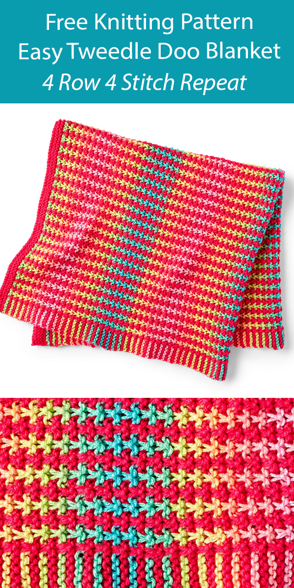 Free Easy Blanket Knitting Pattern 4 Row Repeat Tweedle Doo Blanket
