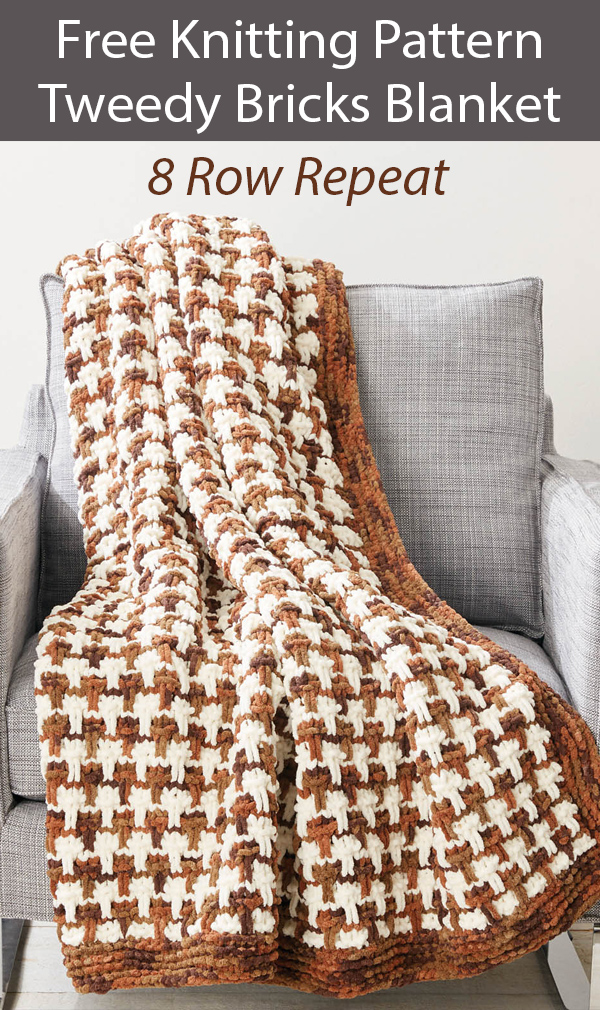 Free Knitting Pattern for Tweedy Bricks Blanket in 8 Row Repeat