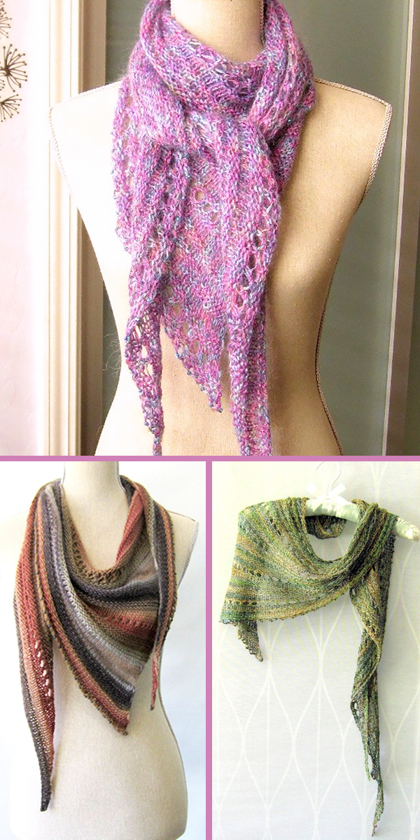 Knitting Pattern for Twiggy Skinny Triangle Scarf