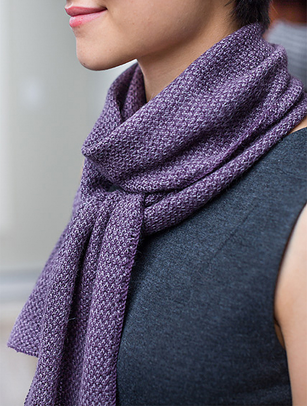 Knitting Pattern for Two-Tone Twill Scarf