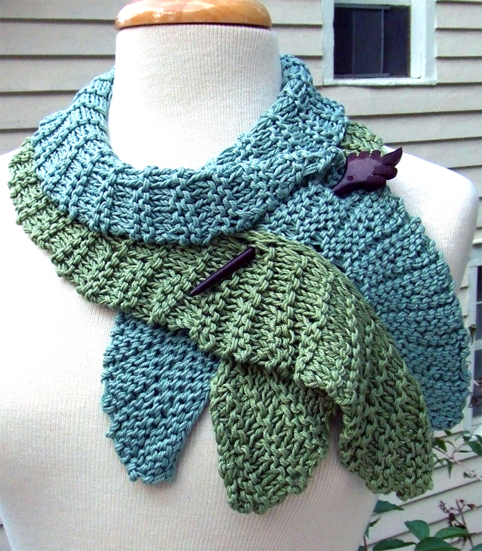 Knitting Pattern for Twirling Leaf Scarf
