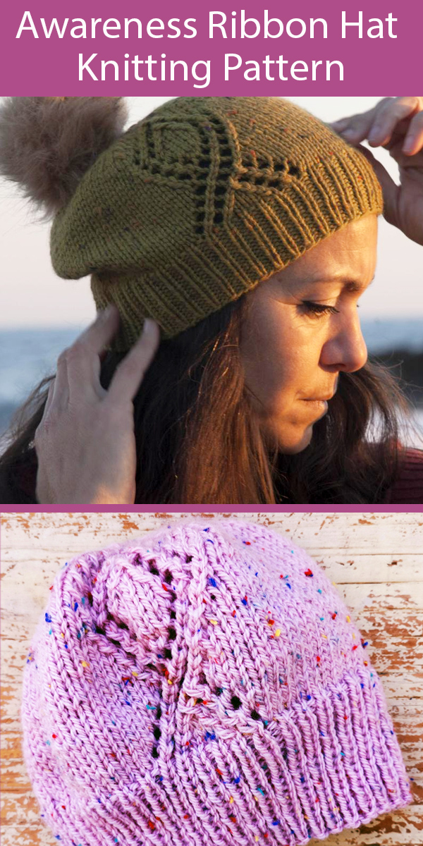 Knitting Pattern for Awareness Ribbon Hat Twist Your Head