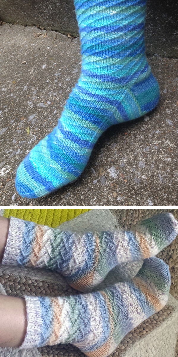 Free Knitting Pattern for Easy Socks With Swirls or Zigzags