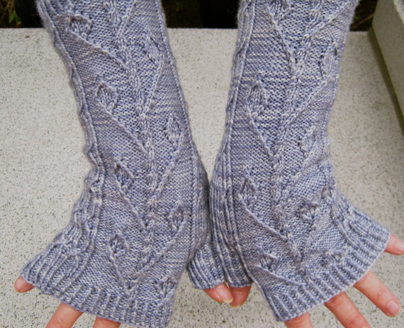 Knitting pattern for Twisted Ivy Fingerless Mitts and more wristwarmer knitting patterns
