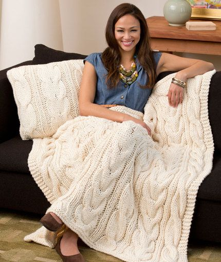 Free knitting pattern for Twisted Taffy Throw & Pillow and more cable afghan knitting patterns